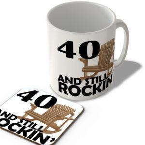 40 And Still Rockin' – Mug and Coaster Set