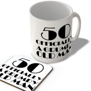 50 Officially A Grumpy Old Man – Mug and Coaster Set
