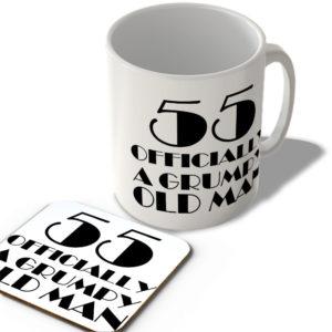 55 Officially A Grumpy Old Man – Mug and Coaster Set