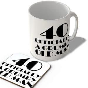 40 Officially A Grumpy Old Man – Mug and Coaster Set