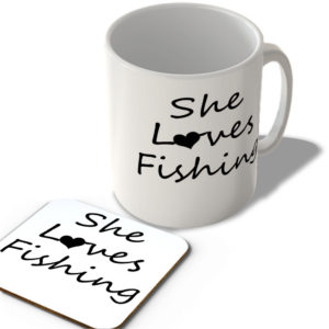 She Loves Fishing – Mug and Coaster Set