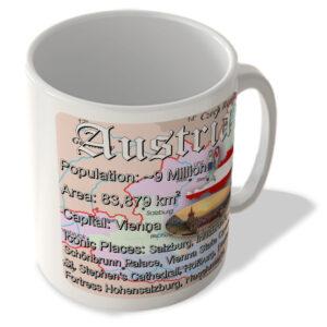 Austria – Fun Facts – Map Background – Mug