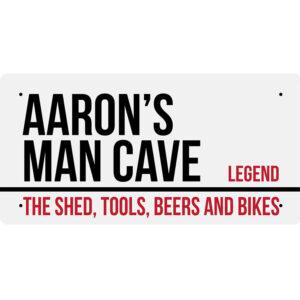 Aaron's Man Cave – Metal Sign