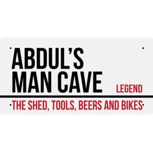 Abdul's Man Cave – Metal Sign