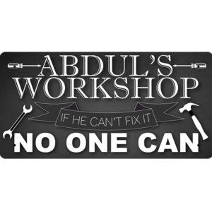Abdul's Workshop – Metal Sign